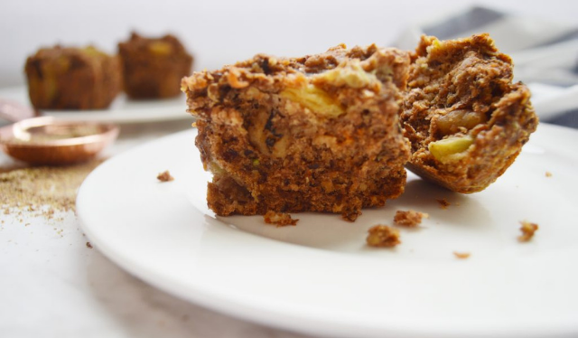 plate with two morning glory muffins