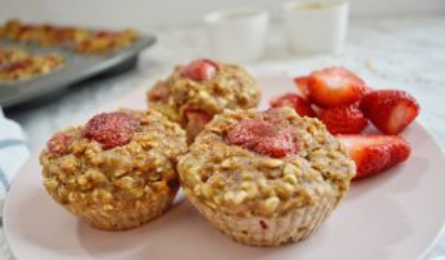 plate of Summertime Strawberry Oatmeal Muffins