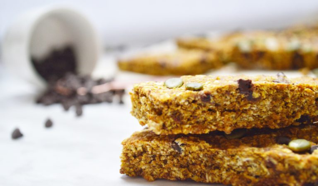Stack of chewy pumpkin granola bars