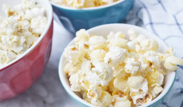 Stove top popcorn three ways in bowls
