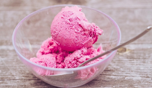 pink ice cream in bowl fourth trimester snack