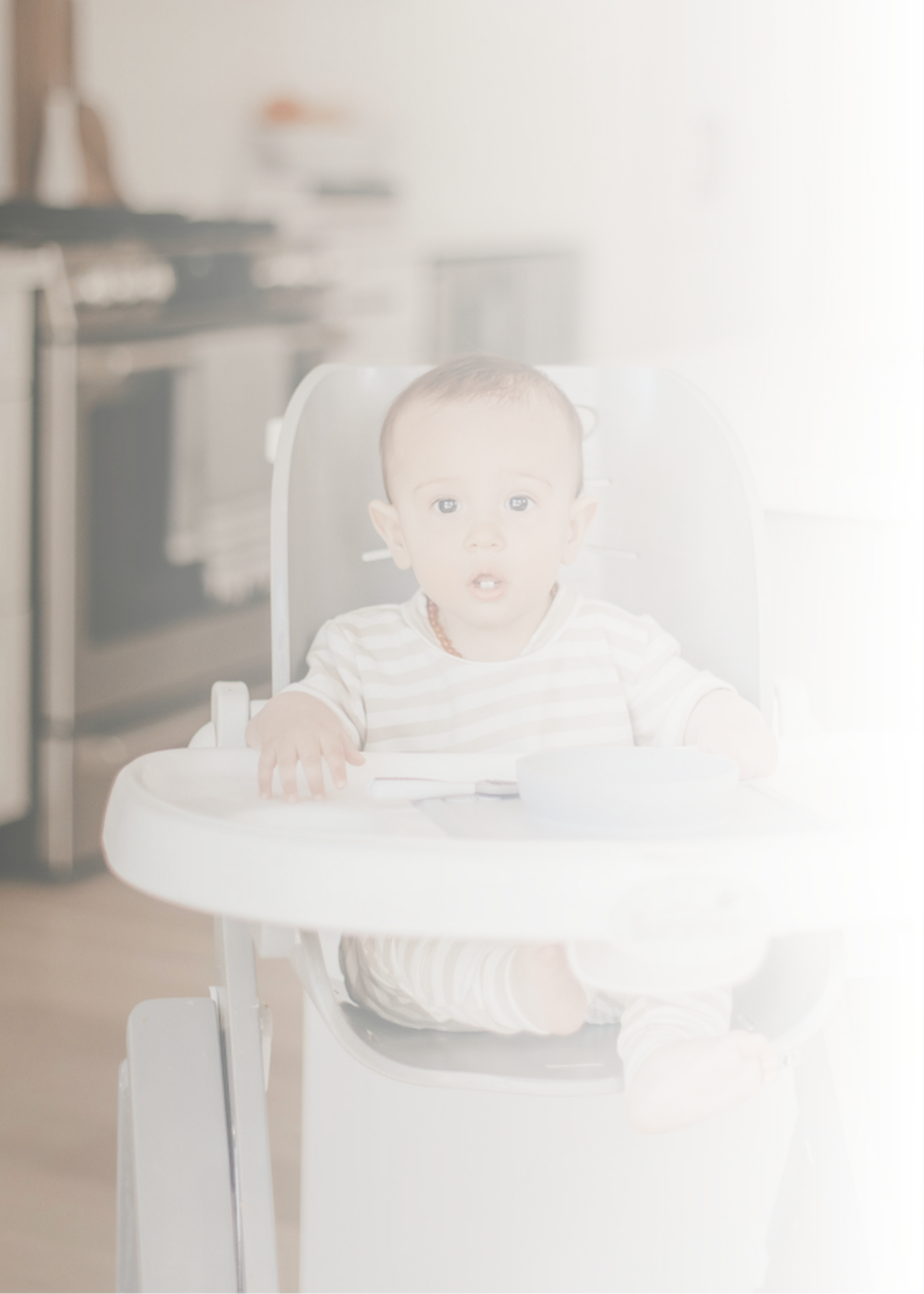 Infant in highchair waiting for introducing solids course